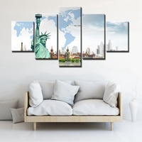 The World S Most Famous Buildings Poster Eiffel Tower Statue Of Liberty Grand Palace Prints Canvas
