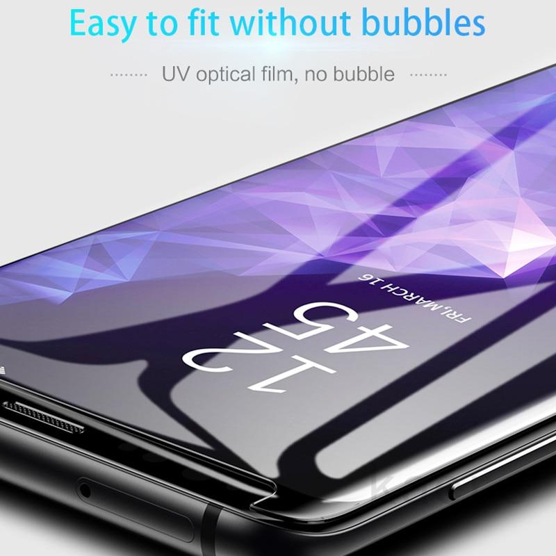 2019 3D UV colle protecteur d'écran pour Sony Xperia 5 II 1 II 10 II 10 plus XZ3 XZ1 verre trempé couverture complète lumière ultraviolette