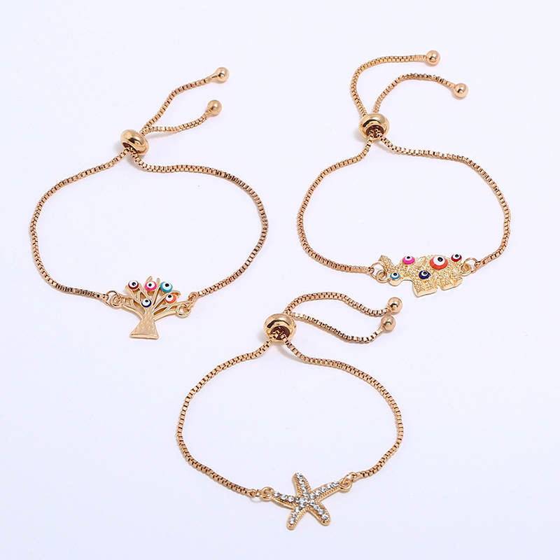 Anklets 2019 Fashion Gold Tone Adjustable Glass Evil Eye Elephant Beads Charm Ankle Bracelet
