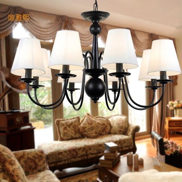 LED Rustikale Amerikanische Leinen Lampenschirm Kostenloser Versand Kronleuchter  Für Schlafzimmer Wohnzimmer Foyer Studie Hotelzimmer