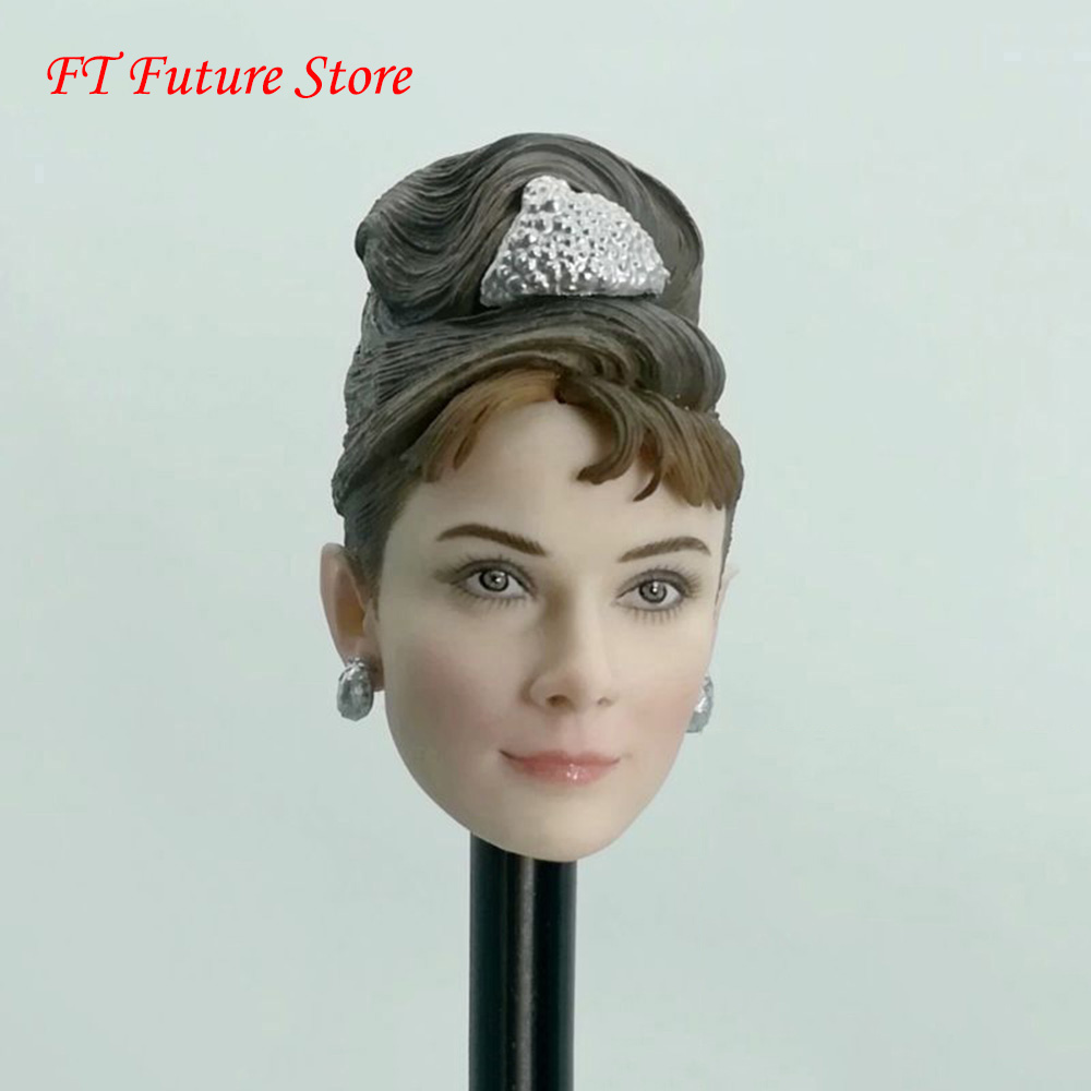 1/6 Beauty Girl Head Sculpt with Hard Hair Breakfast at Tiffanys Audrey Hepburn Model For 12 Pale Skin Action Figure Body 1/6 Beauty Girl Head Sculpt with Hard Hair Breakfast at Tiffanys Audrey Hepburn Model For 12 Pale Skin Action Figure Body