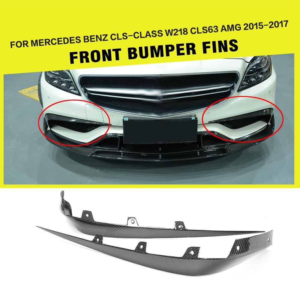 Fibre de carbone Voiture De Course Avant Autocollants Splitters Volets Canards pour Mercedes Benz W218 CLS63 AMG Berline 4-Porte 2015 -2017