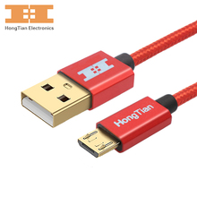 Mobile phone cables Micro USB Cable Fast Charging Android USB GOLD PLUG 5V2.4A Data Charger Cable 30CM 100CM 200CM 300CM