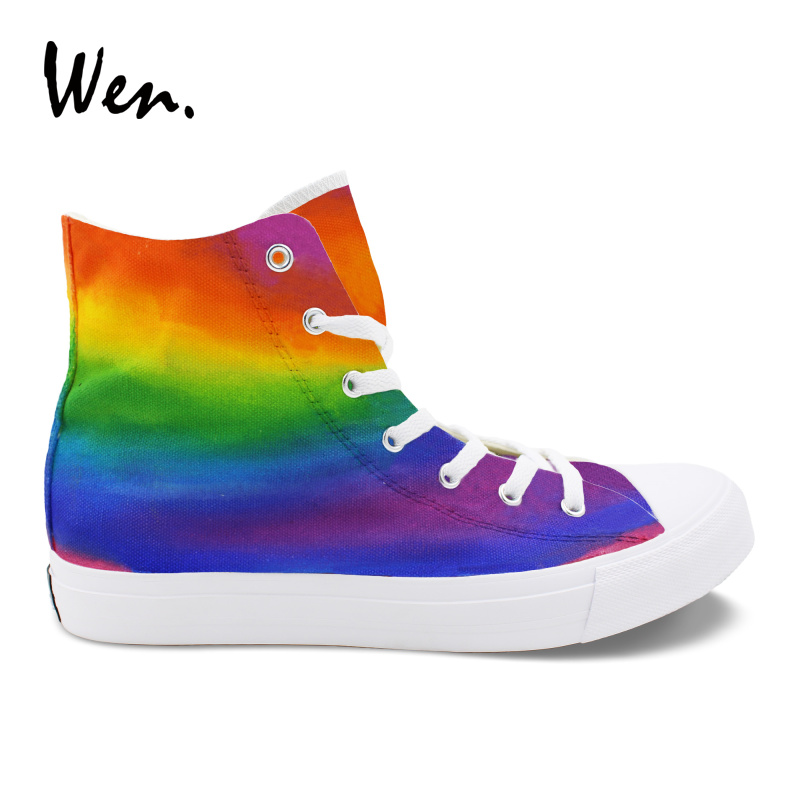 цены Wen Rainbow Color Gradual Change Colorful Painting Hand Painted Canvas Shoes Men Vulcanize Shoes Casual Women Sneaker Zapatos