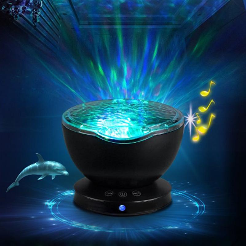 LED Night Light Multifunctional Card Soundbox Ocean Projection Lamp Remote Control Audio Sleeping Music Lamp Bar Ambient Lamp#30