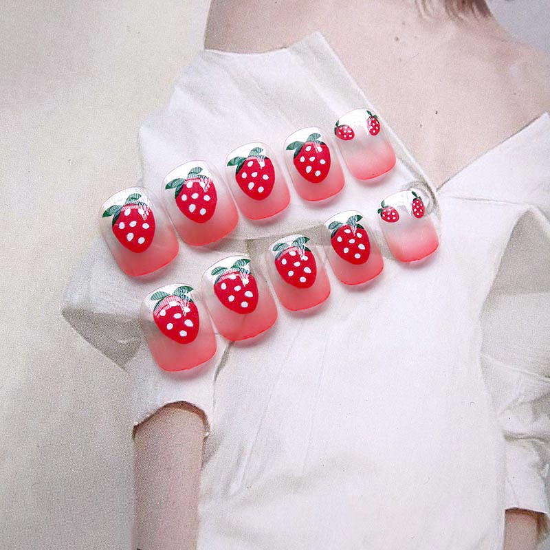 24pcs/set Cute cream strawberry transparent french finished fake nails short size full nail tips Patch lady art tool bride