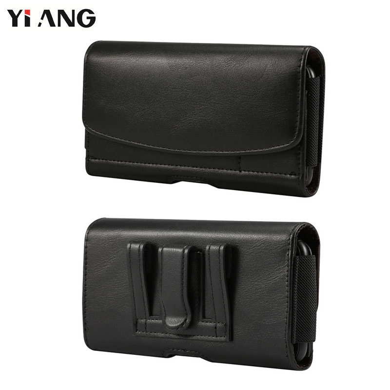YIANG 4.7~6.5 Inch Men Waist Packs PU Leather Vintage Fanny Pack Cell Phone Bag Waist Bag Belt Bag Black Small Cell Phone Bag