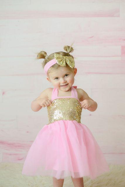 Rosa de Oro Glitter Tul Vestido Babys primero Cumpleaños Vestido Rosa y oro Vestido de Lentejuelas Tutú Rosa y Lentejuelas de Oro Pascua vestido