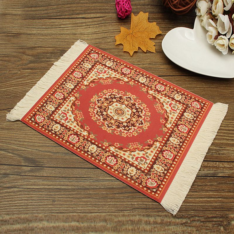 Kiwarm Persian Style Mini Woven Rug Carpet Mousemat Mouse Pad With Fringe Gifts Home Office Table Decoration Craft 28x18cm