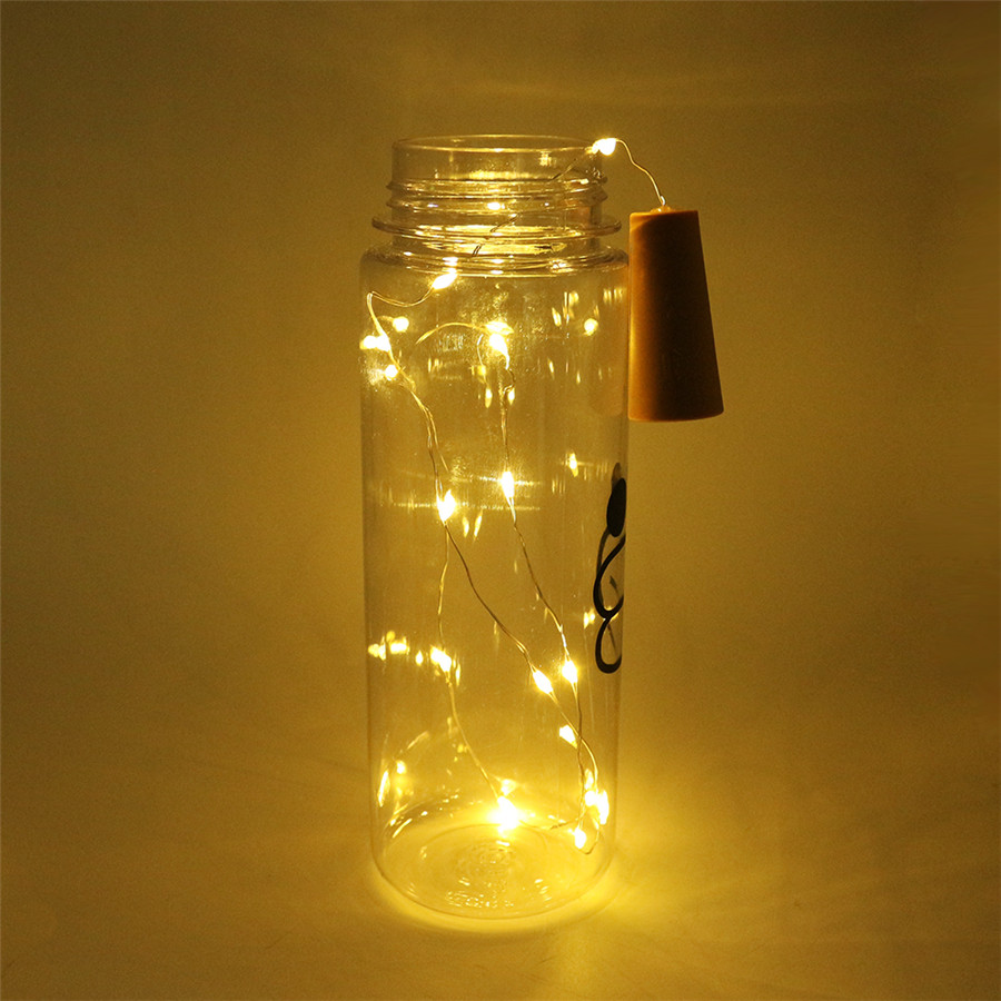 Thrisdar 20pcs Lot 10leds 20leds Diy Micro Copper Wire Led String Wiring 10 Leds In Series Light Wine Bottle Cork Stopper Fairy Garland From Lights
