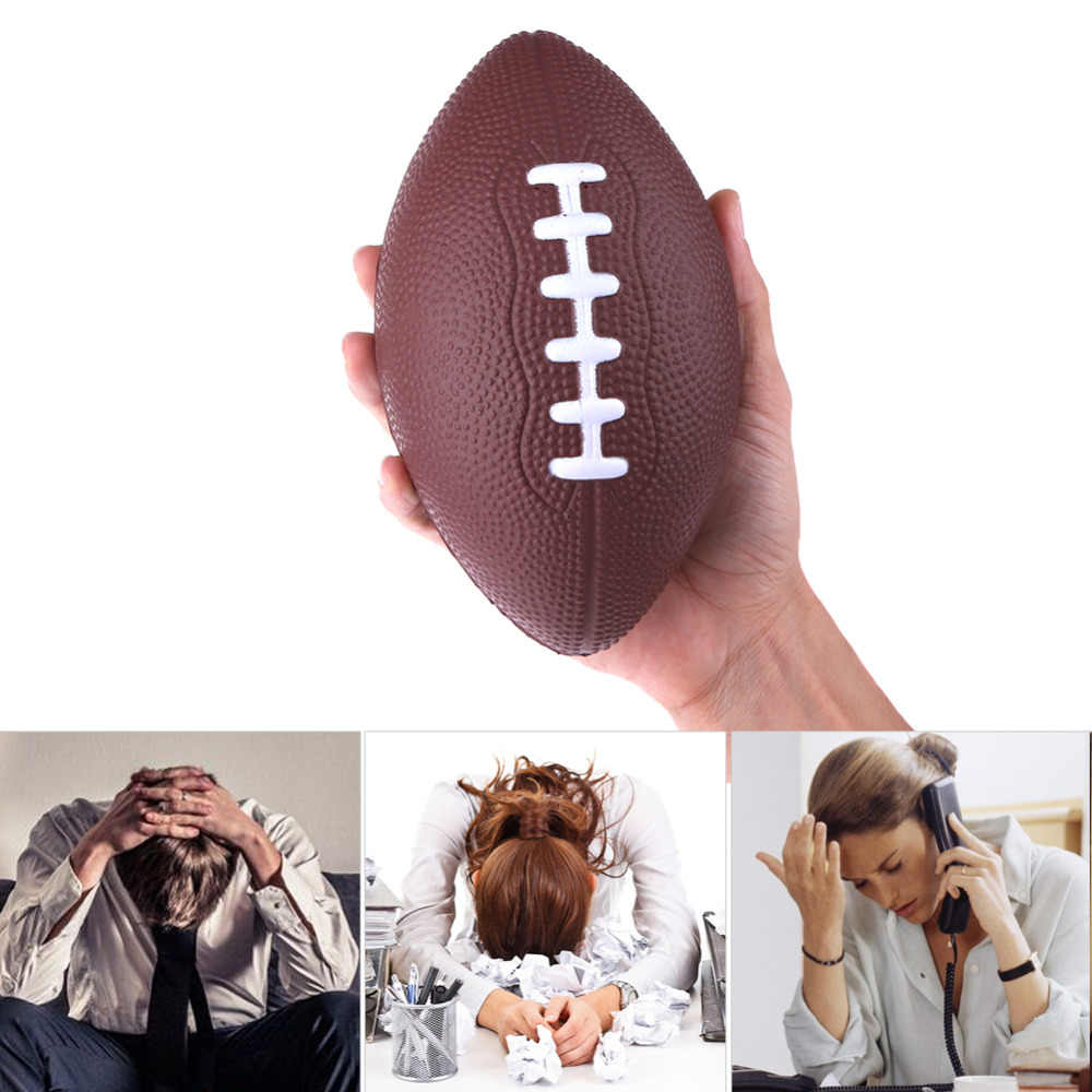 1pc PU Rugby Fun Anti Stress Honkbal Vormige Baby Speelgoed Outdoor Training Amerikaanse Voetbal Hand Oefening Relief Squeeze Zachte schuim