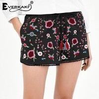 Everkaki Women Summer Rose Flower Embroidered Shorts Tassel Drawstring Elastic Waist Short Bottoms With Mini Balls Trim Decor