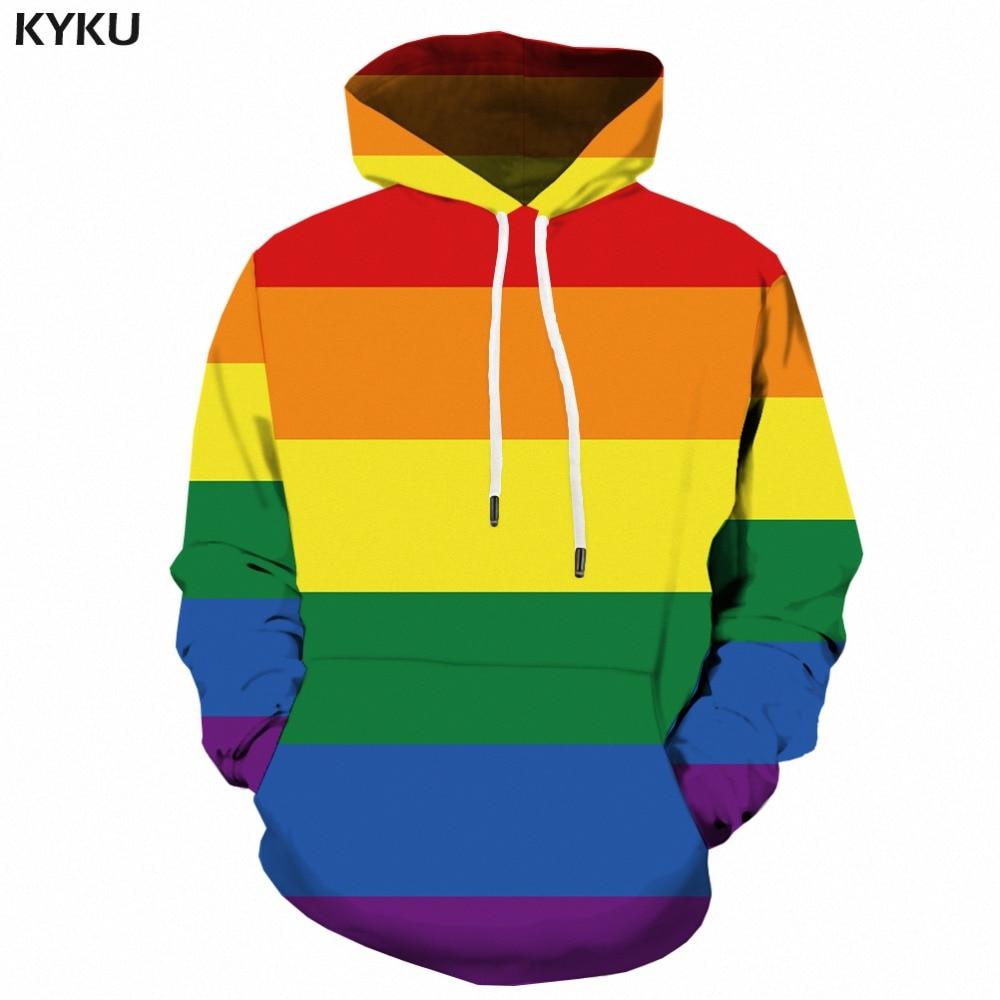KYKU Rainbow Hoodie Legitimate Gay Hoodies Men 3d Long Sweatshirt Banner Colorful Printed Anime Man Mens Clothing Streetwear