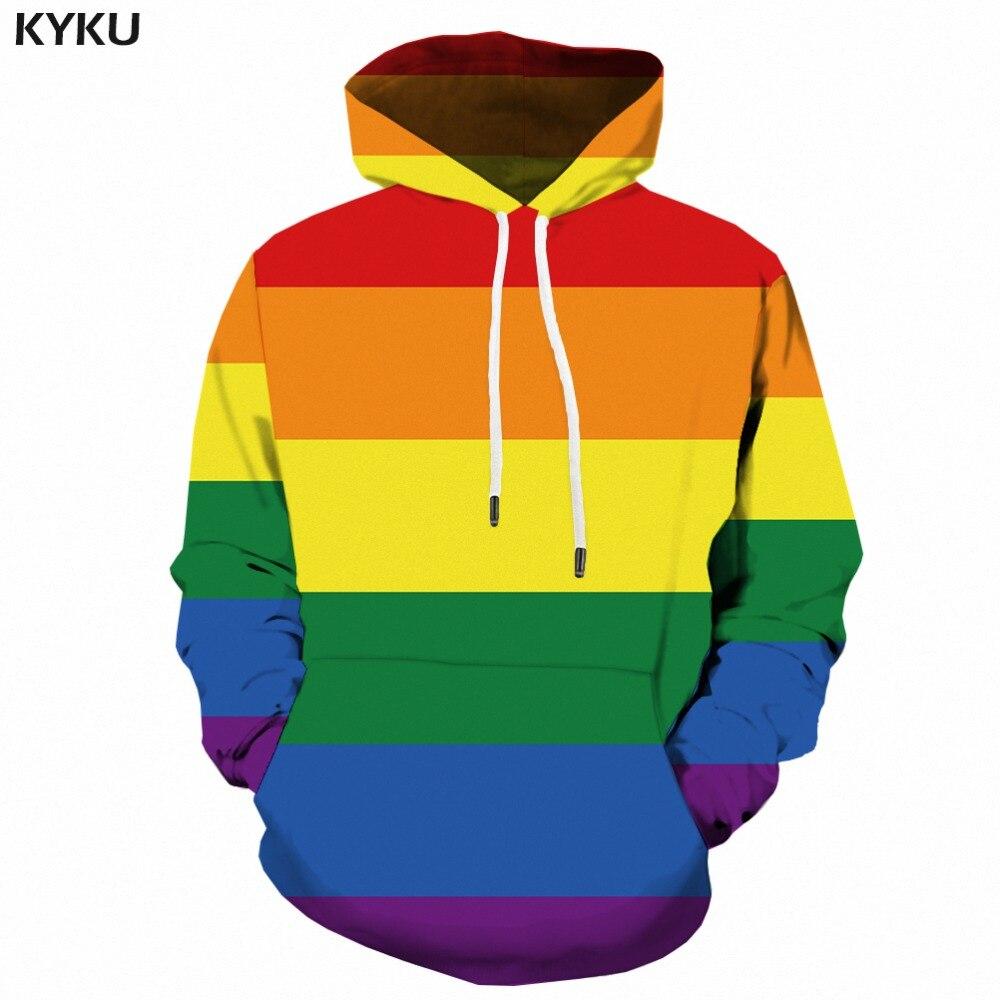 KYKU arc-en-ciel à capuche légitime Gay sweat à capuche pour homme 3d Long sweat bannière coloré imprimé Anime homme hommes vêtements Streetwear