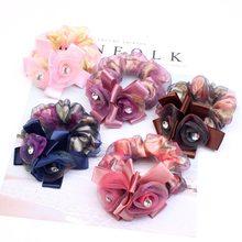 Boutique chiffon rosa flor rendas mulheres meninas elastic cabelo rubber bands scrunchy acessórios faixa de cabelo anel de corda cocar livre