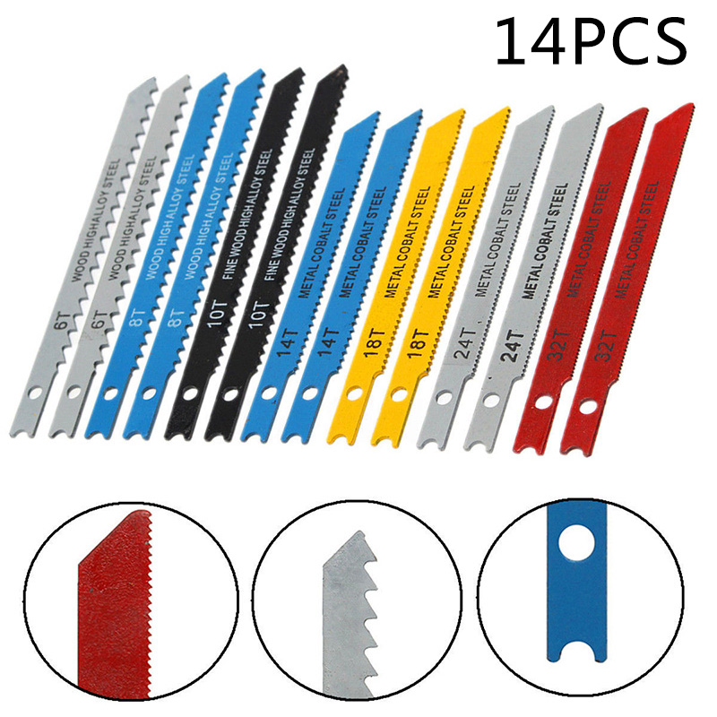14pcs Assorted U Fitting Jigsaw Blades Set Metal Plastic Wood For Black & Decker