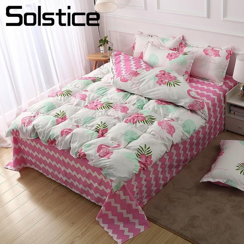 Solstice Home Textile White Pink Stripe Duvet Cover Sheet Pillow Case Flamingo Bedding Set Girl Kids Adult Woman Bed Linens Suit