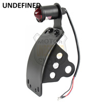 Motorcycle Accessories LED Curved Glass Lens Tail Light License Plate Bracket Side Mount Axle For Harley Dyna Fatboy UNDEFINED