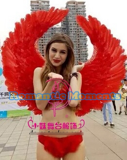 2017 new arrive red feather angel wings props catwalk show props festival Angel Feather wings Window props underwear cosplay