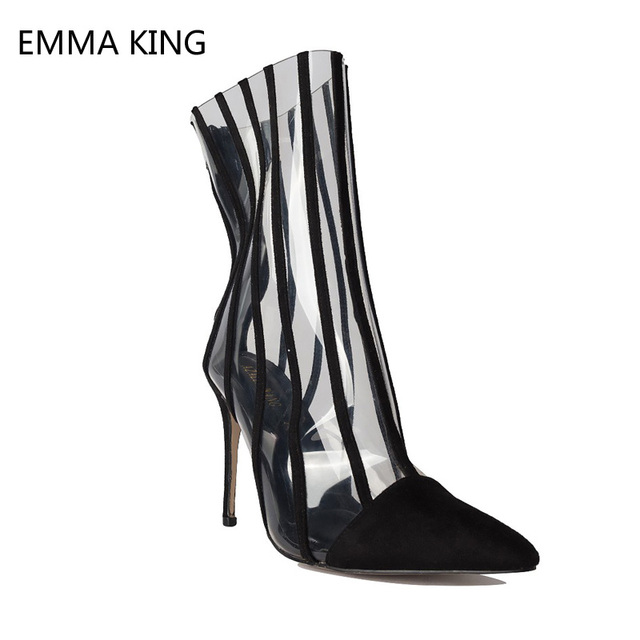 6f5a80acb Clear Heels Boots Women Striped Pointed Toe High Stiletto Heels Ankle Boots  For Women Transparent Black Ladies Shoes Botas Mujer