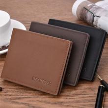 Carteira masculina compacta, carteira de negócios vintage para homens, bolsa de moedas, carteira slim pequeno