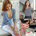 Autumn Long Sleeve Striped Personalized T-shirt Bottoming Tight-fitting Cool T Shirt Strapless Slim Low Cut Sexy Hot Women Tops