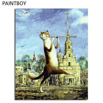 PAINTBOY Katze Gerahmte Ölgemälde Durch Zahlen Leinwand DIY Ölgemälde Home Decoration Für Wohnzimmer 40*50 cm Wohnkultur