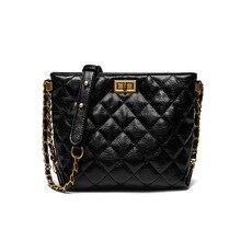 Women Quality Leather Bucket Bag 2019 Luxury Design Lady Shoulder Traveling Handbag Vintage Chain Messenger Tote