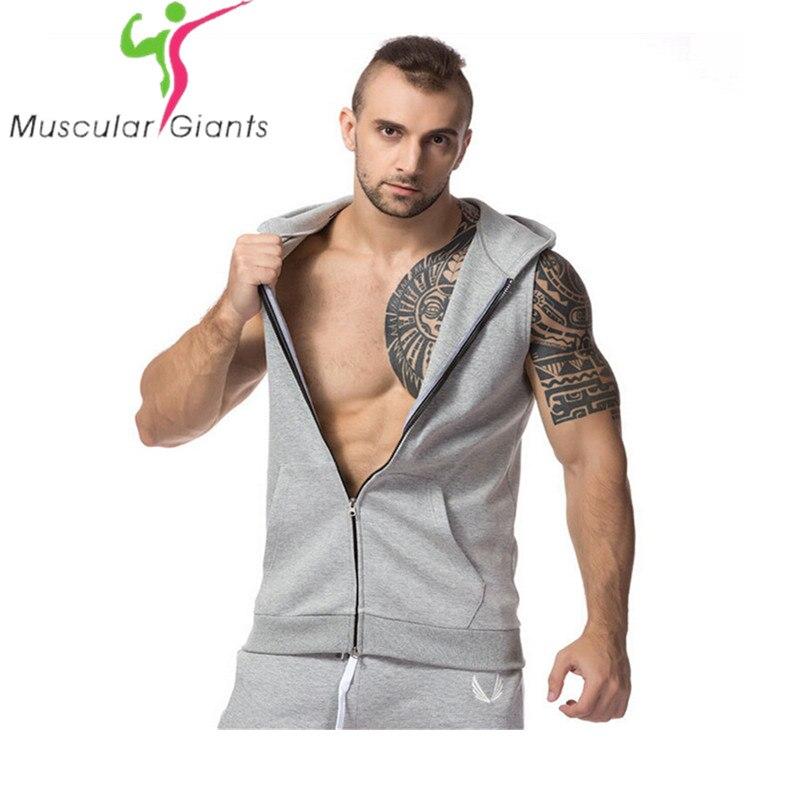 2018 marca ocasional sin mangas elástico moda con capucha Gyms Tank Top hombres bodybuilding Fitness ropa M-XXL