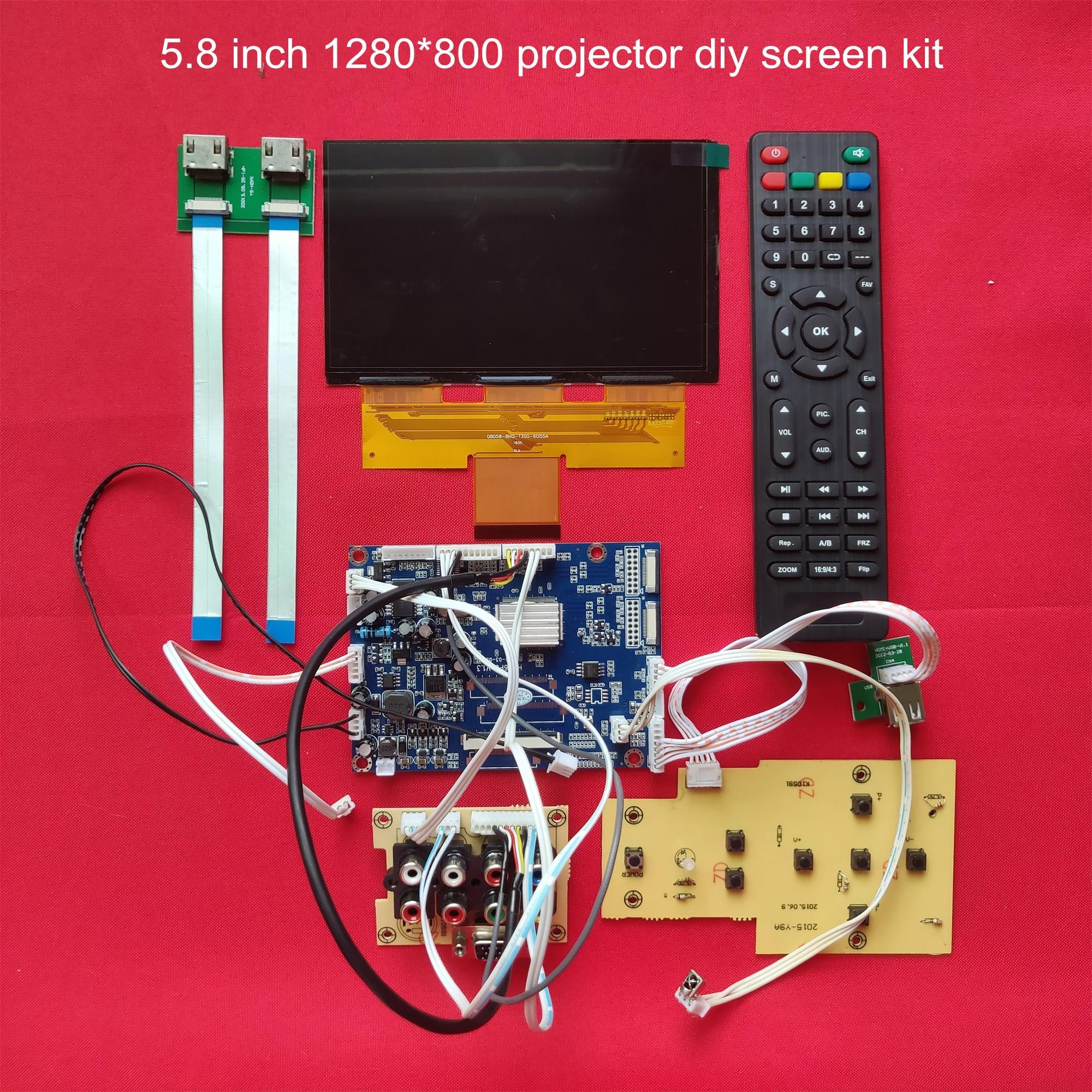 1 ensemble de 5.8 pouces 1280*768 écran lcd avec carte pilote et kit de projecteur bricolage à distance 16:9 kit de bricolage écran support 1080 p