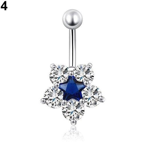 HTB1l57lPpXXXXa0apXXq6xXFXXXj Women Body Piercing Jewelry Rhinestone Flower Belly Button Navel Ring - 8 Styles