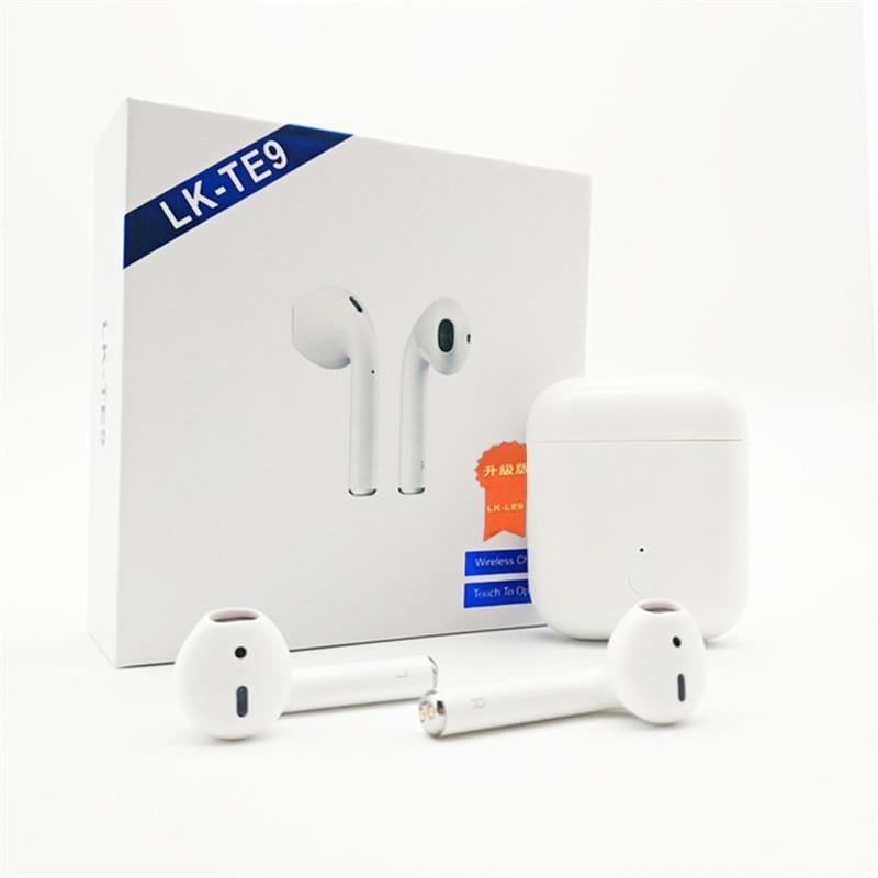 Original LK-Te9 Pro 1:1 Air Tws Bluetooth écouteurs pods écouteurs aoto-fenêtre-paire HIFI basse son tactile pk W1 puce i10 i12 tws