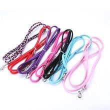Поводок для кошек и щенков, длинная гладкая искусственная кожа, поводки для собак, одноцветные ходунки для собак, поводки для девочек и мальчиков, розовый, синий, красный, черный