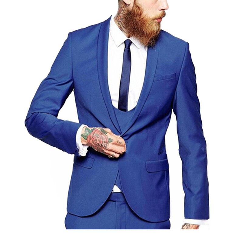 2019 3 Pieces suit Navy blue Men's Fashion suit sets / Male Business Casual Coat Jacket Waistcoat Trousers Blazer
