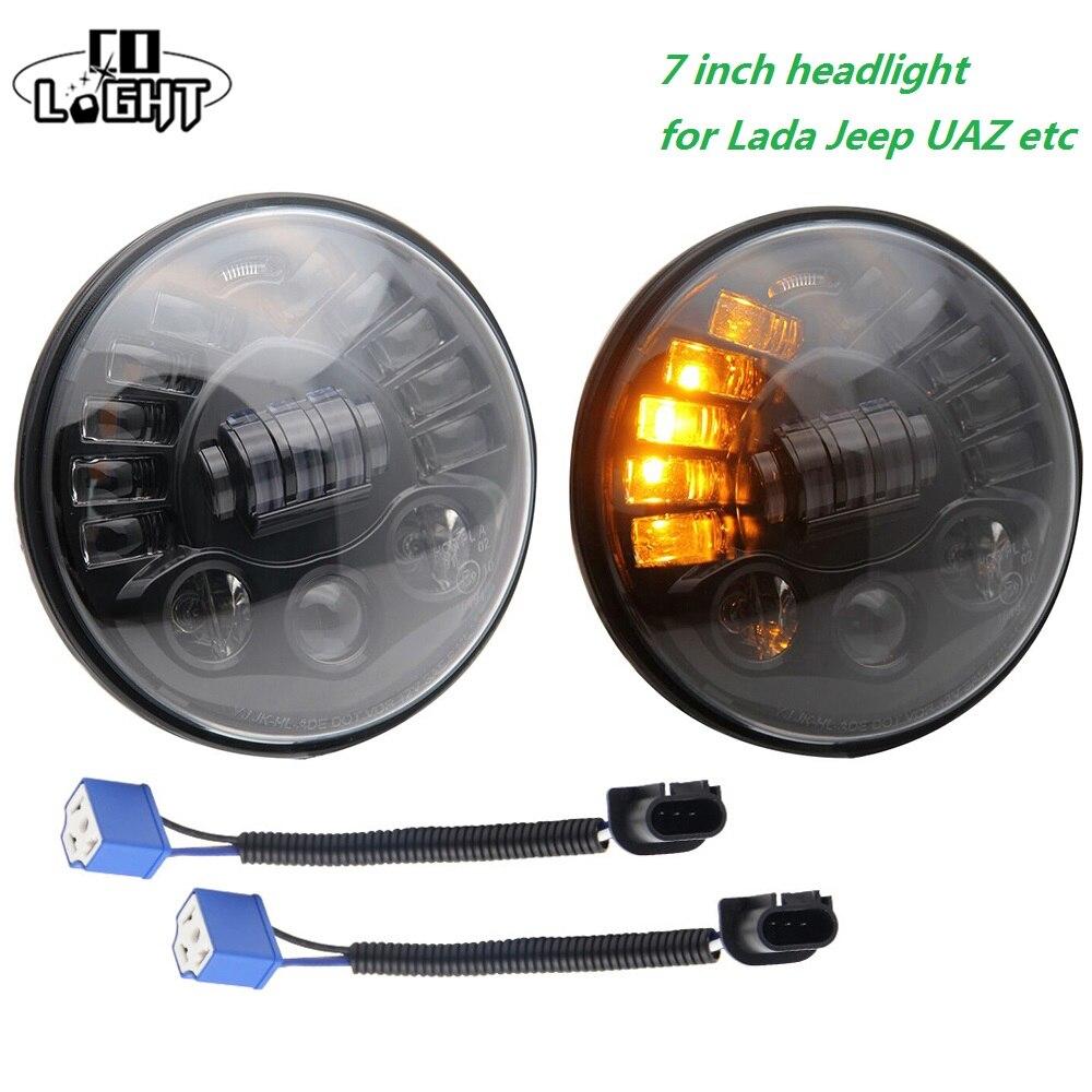 CO LIGHT 1 Pair 70W 7 Headlight H4 Led Car Light 40W for Hummer Lada 4X4 Jeep Toyota Volga Uaz Off Road Parking Driving 7''