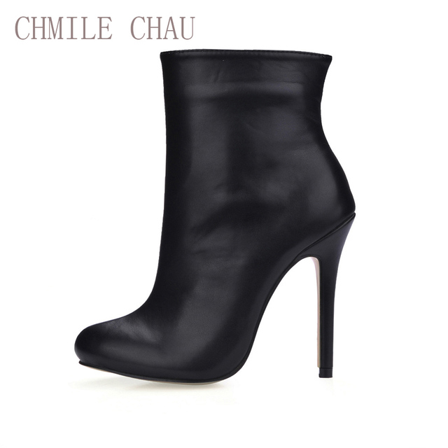 US $35.82 44% OFF|CHMILE CHAU Black Sexy Dress Party Shoes Women Stiletto  High Heels Mature Office Ladies Mid Calf Boots Zapatos Mujer 0640CBT c1-in  ...