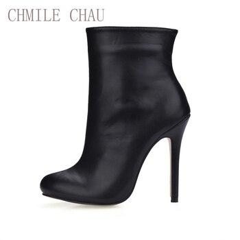 0e9d7437 CHMILE CHAU negro Sexy vestido de fiesta Zapatos mujeres Stiletto tacones  altos señoras de la Oficina de media pantorrilla botas Zapatos Mujer  0640CBT-c1