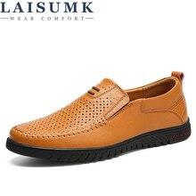 LAISUMK Brand Men Casual Leather Shoes Slip-on Fashion Breather Comfortable Summer Sapato Masculino