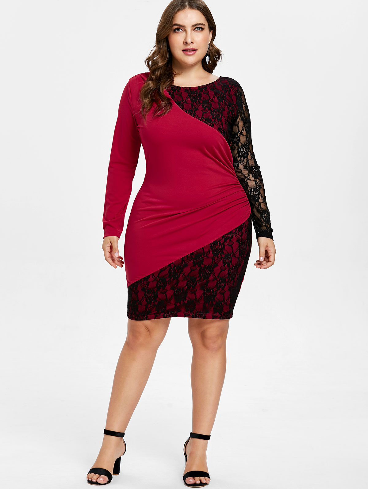 Wipalo Lace Panel Plus Size Black Red Patchwork Bodycon Dress Elegant Knee  Length Party Dress Spring Fall OL Dress Vestidos 5XL-in Dresses from  Women s ... c7ae0b74750e