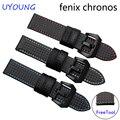 Quality carbon fiber pattern watchband 22mm Black bracelet replacement leather strap for Garmin Fenix Chronos