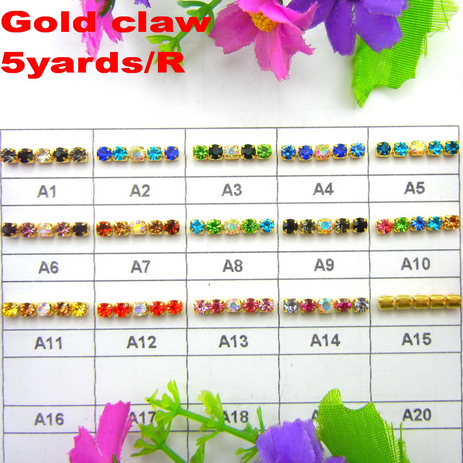 High density 5 yards/Roll Gold claw AB colors mix ss6 2mm SS8 2.5mm SS10 2.8mm SS12 3mm Sew On glue on rhinestone cup chain trim