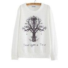 2017 New winter Hoody women Casual hoodies Strawberry tree print thin inside long sleeve o neck