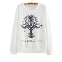 2018 New winter Hoody women Casual hoodies Strawberry tree print thin inside long sleeve o neck