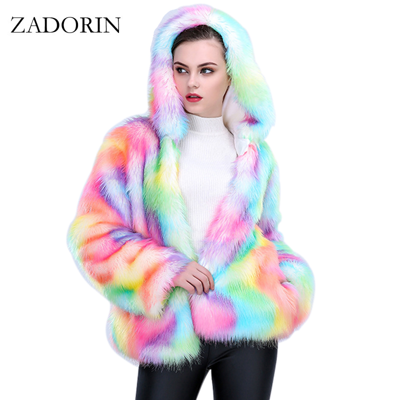 2017 NEW Fashion Thick Warm Colorful Faux Fox Fur Coat With Hooded Women Short Faux fur Jacket Plus Size Female Winter Outerwear men s winter coat hooded outerwear warm fleece jacket plus size m 5xl4 colors warm faux fur liner cotton jacket
