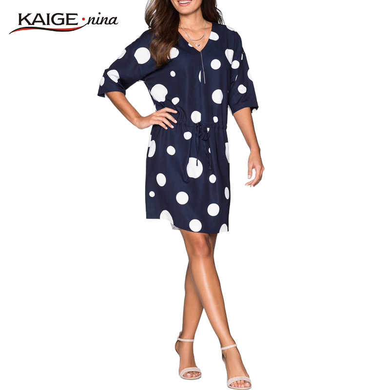 KaigeNina new fashion hot sweet ladies loosedress O-neck knee-length chiffon dress 1100