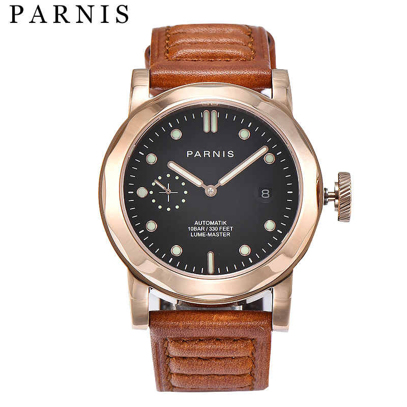 43mm Parnis Automatic Mechanical Watches Men Cowhide Leather Luminous 10ATM Mechanical Wristwatch