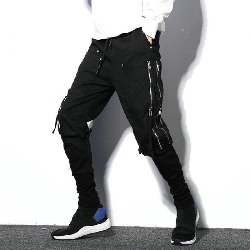 Black Streetwear Harem Pants Men Hip Hop Zipper Pockets Male Sweatpants Night Club Trousers Casual Slim Joggers Men