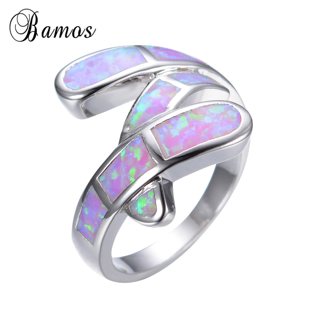 Size 6/7/8/9 Pink Opal 925 sterling silver rings