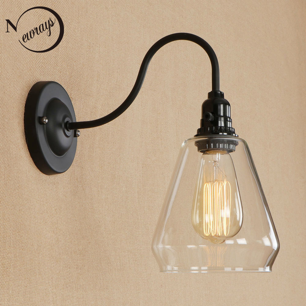 Modern simple iron&glass wall lamp vintage black wall light LED E27 for dining room bedroom foyer restaurant cafe path study modern led wall lamp gold body glass dining room wall lamps cafe bedroom lights glass wall light e27 bedside lamp ac90 260v