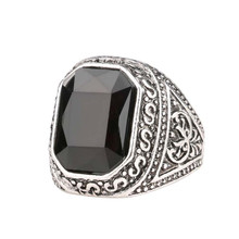 Vintage Men Ring Antique Silver Plated Filled With Black Rhinestone Mens Stone Ring Men Black Onyx Ring